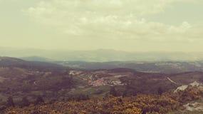 Воздушный ландшафт поля ретро стоковые фотографии rf