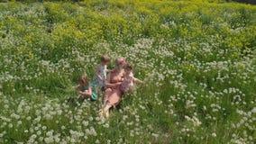 Воздушный: Молодая белокурая мать hippie имея качественное время сидя с ее ребятами на поле одуванчика парка - дочерьми акции видеоматериалы