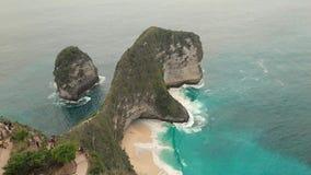 Воздушный отснятый видеоматериал залива Manta или пляж Kelingking на острове Nusa Penida, Бали, Индонезии акции видеоматериалы