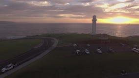 Воздушный отснятый видеоматериал маяка Wollongong сток-видео