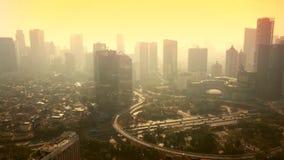 Воздушный отснятый видеоматериал небоскребов около моста Semanggi акции видеоматериалы