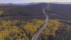 Воздушный отснятый видеоматериал сезона нефтепровода Аляски осенью, шоссе Dalton сток-видео