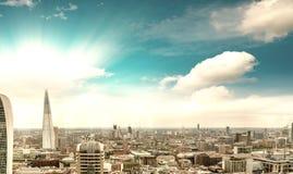 Воздушный панорамный взгляд захода солнца Лондона, южной стороны Стоковая Фотография