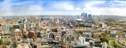Воздушный панорамный взгляд захода солнца Лондона, южной стороны Стоковое Изображение RF