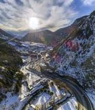 Воздушный панорамный излишек в деревне Canillo Стоковые Изображения
