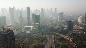 Воздушный пейзаж моста Semanggi в Джакарте сток-видео