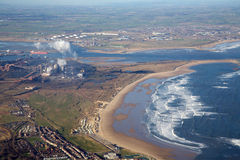 воздушный прибрежный промышленный город Стоковое Изображение RF