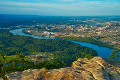 Воздушный сценарный взгляд Chattanooga стоковое изображение rf