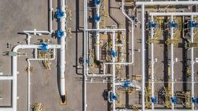 Воздушный трубопровод природного газа взгляд сверху, газовая промышленность, transpor газа стоковое изображение