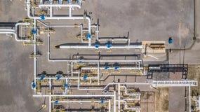 Воздушный трубопровод природного газа взгляд сверху, газовая промышленность, transpor газа стоковые фотографии rf