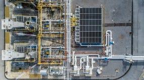 Воздушный трубопровод природного газа взгляд сверху, газовая промышленность, transpor газа стоковые изображения rf