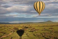 воздушный шар над саванной Стоковая Фотография RF