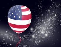 Воздушный шар США патриотический на сверкная предпосылке Покрашенные воздушные шары специально для четверти от июля белизна афиши Стоковая Фотография RF