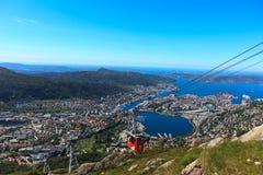 воздушный tramway bergen ulriken Стоковые Фотографии RF