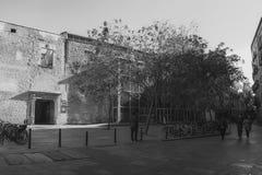 воздушным взгляд улицы passeig columbus колонки de заречья colom городского пейзажа barceloneta barcelona увиденный правом стоковые изображения