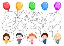 5 воздушных шаров владением детей Стоковые Фото