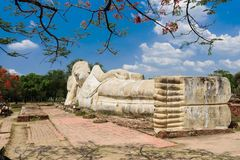 Возлежа статуя Будды в Ayuttaya, Таиланде Стоковые Фото