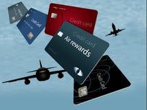 Вознаграждения воздуха кредитные карточки увиденный здесь плавать и летать в th стоковое фото rf