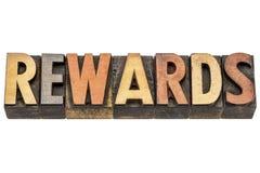 Вознаграждения формулируют в типе древесины letterpress стоковое фото rf