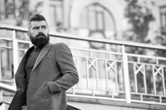 Возникновение бородатого хипстера человека стильное ждать кто-то Уверенный хипстер Встреча хипстера уверенная ждать outdoors стоковая фотография