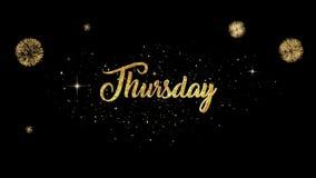 Возникновение текста приветствию вторника красивое золотое от моргать частиц с золотой предпосылкой фейерверков иллюстрация штока