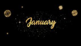 Возникновение текста приветствию в январе красивое золотое от моргать частиц с золотой предпосылкой фейерверков иллюстрация вектора