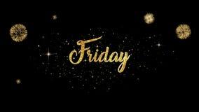 Возникновение текста приветствию пятницы красивое золотое от моргать частиц с золотой предпосылкой фейерверков бесплатная иллюстрация