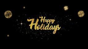 Возникновение текста приветствию счастливых праздников красивое золотое от моргать частиц с золотой предпосылкой фейерверков видеоматериал