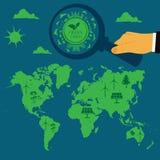 Возобновляющая энергия, устойчивое и сбалансированное развитие, eco, иллюстрация вектора в плоском дизайне бесплатная иллюстрация