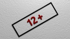 ` ` 12+ возрастного ограничения Иллюстрация цифров перевод 3d Стоковое Изображение RF