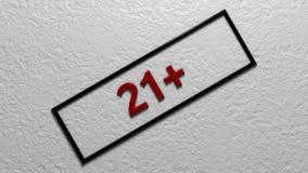 ` ` 21 возрастного ограничения Иллюстрация цифров перевод 3d Стоковые Изображения