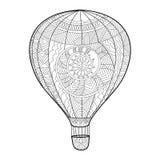 Воздухоплавательная книжка-раскраска воздушного шара для вектора взрослых Стоковые Фотографии RF