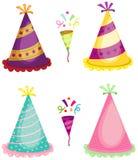 Воздуходувка рожка партии и красочные шляпы Стоковые Изображения