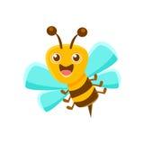 Воздух счастливой пчелы средний с жалом, иллюстрацией коробки естественной продукции меда родственной иллюстрация штока