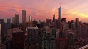 Воздушная ноча Иллинойса Чикаго акции видеоматериалы