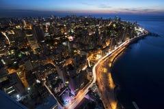 Воздушная ноча сняла Бейрута Ливана, города scape города Бейрута, Бейрута Стоковая Фотография RF