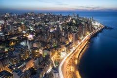 Воздушная ноча сняла Бейрута Ливана, города scape города Бейрута, Бейрута Стоковые Изображения