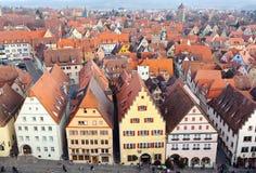 Воздушная панорама старого городка, der Tauber ob Ротенбурга Стоковые Изображения RF