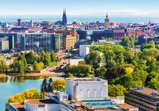Воздушная панорама Хельсинки, Финляндии стоковая фотография rf