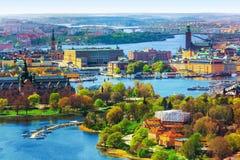 воздушная панорама stockholm Швеция стоковое фото rf