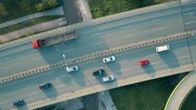 Воздушная съемка шоссе в вечере, верхняя часть вниз осматривает Стоковые Изображения