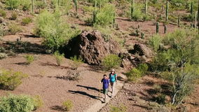 Воздушная съемка Hikers пустыни на длинном пылевоздушном следе акции видеоматериалы