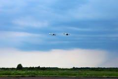 2 воздушного судна во время авиации полета Стоковая Фотография