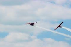 2 воздушного судна во время авиации полета Стоковые Изображения