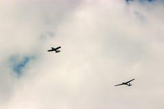 2 воздушного судна во время авиации полета Стоковое фото RF