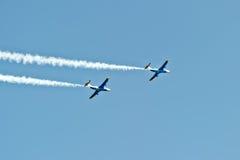 2 воздушного судна дельфина L-29 в мухе Стоковая Фотография