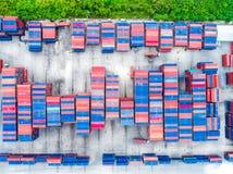 Воздушное взгляд сверху доставки грузового контейнера Стоковое фото RF