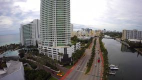 Воздушное видео бульвара Miami Beach 4k Collins видеоматериал