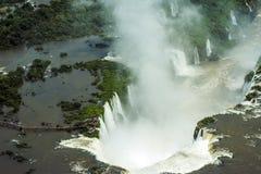 Воздушное изображение Игуазу Фаллс, Аргентины, Бразилии Стоковые Изображения