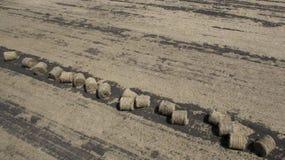 Воздушное изображение стогов сена в поле стоковая фотография